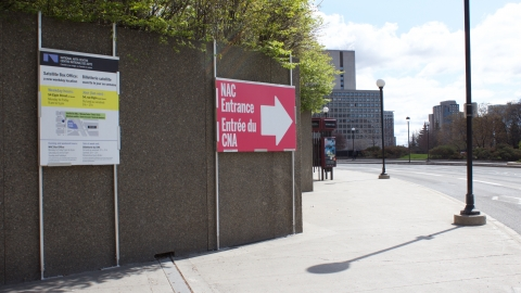 Directions to the NAC entrance (on Albert Street towards the Mackenzie King Bridge)