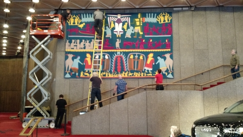 Getting ready to bring the tapestry down