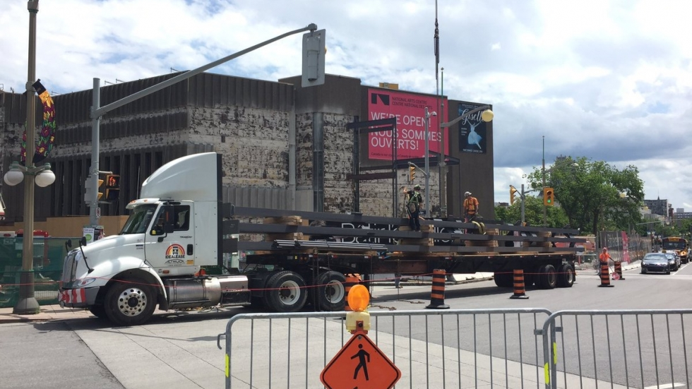 Steel columns arrive at the NAC