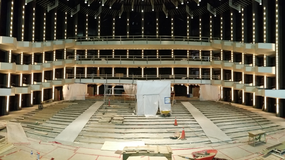 Now that the seats have been removed work begins on the new aisles.